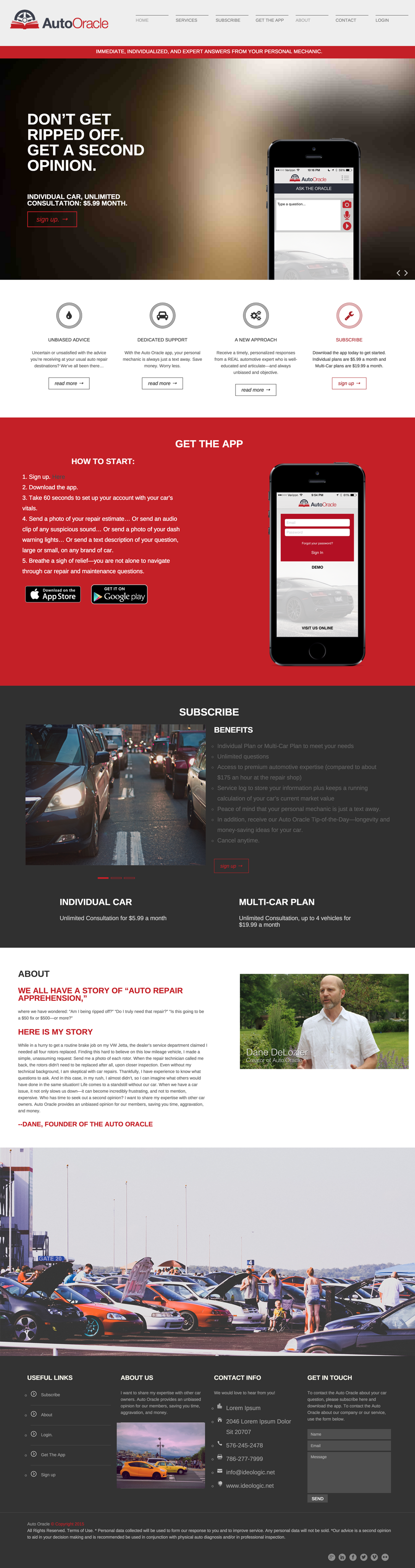 The Auto Oracle Website Full Front Page