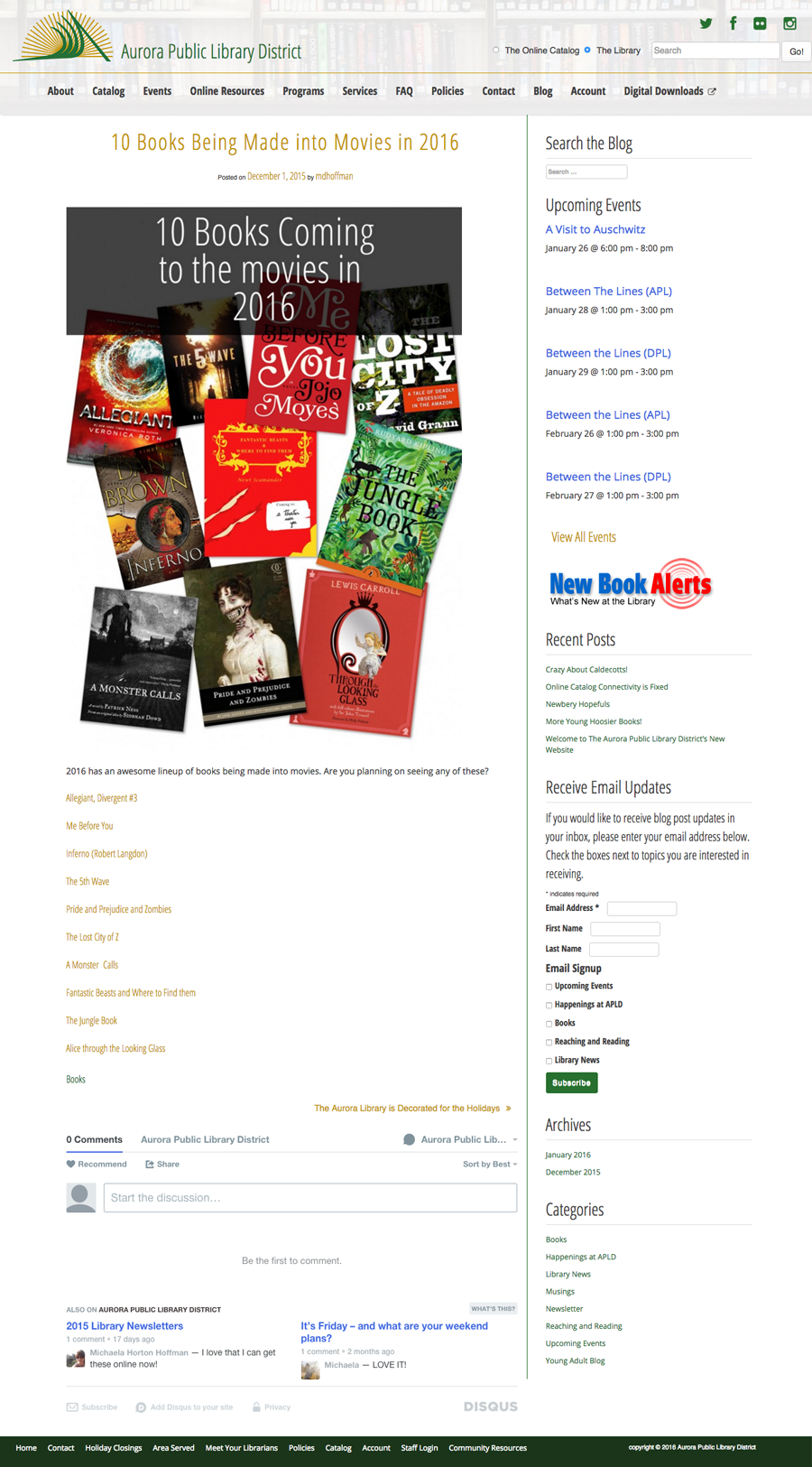 Aurora Public Library District Website Design & Development