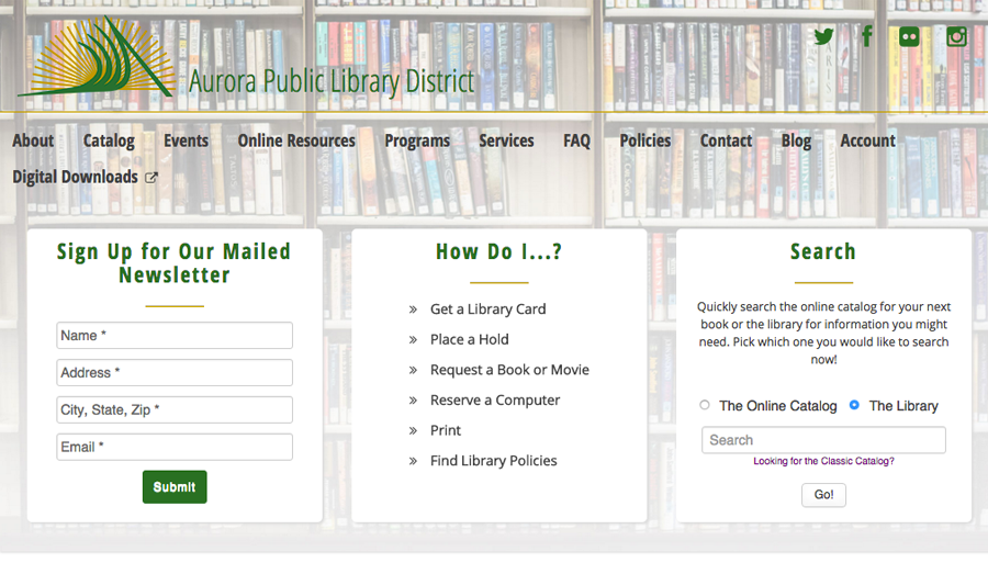The Aurora Public Library District's Website Design and Development